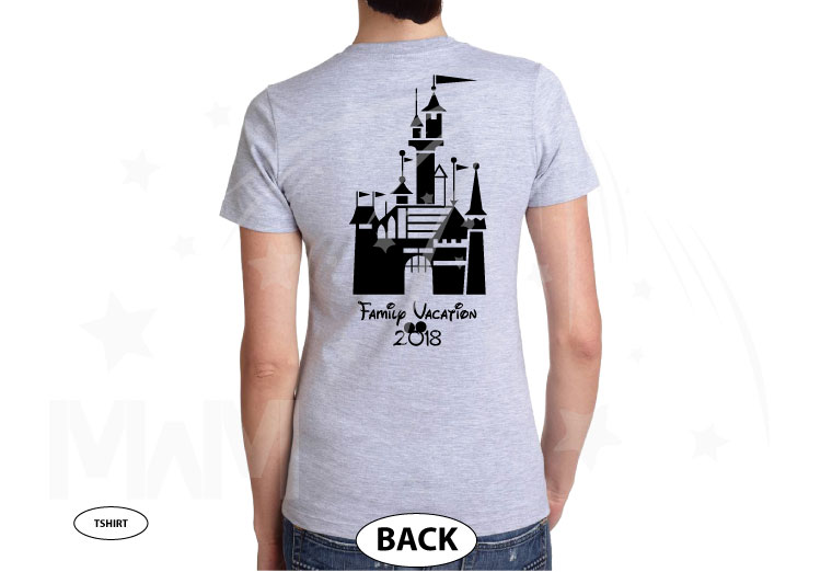 Mom Disney Font Shirt Minnie Mouse With Disney Castle Cute Red Bow married with mickey grey tshirt