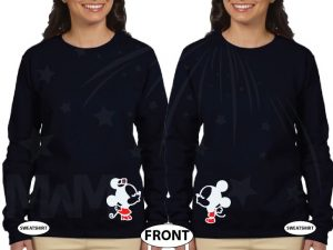 LGBT Lesbian Shirts for Mrs With Little Mickey Minnie Mouse Kiss married with mickey black sweaters