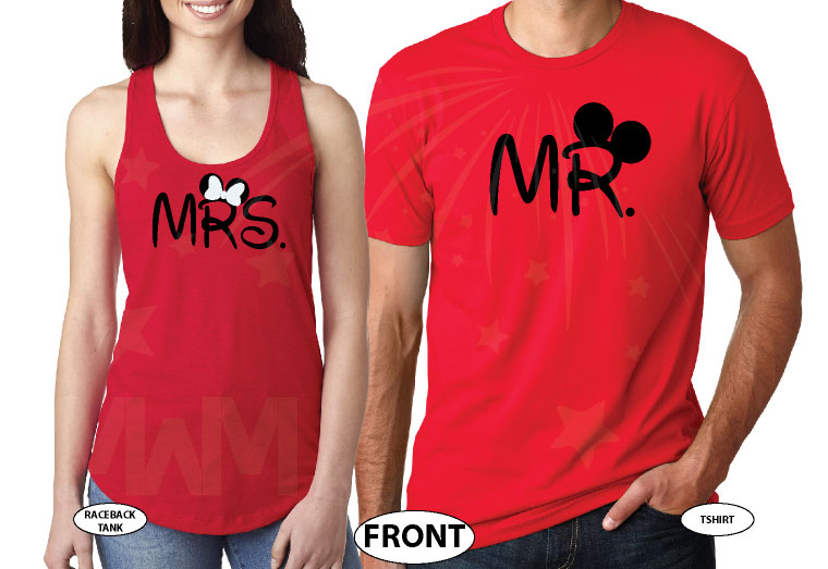 Cute Mr Mrs Mickey Minnie Couple Shirts With Big Ears and Custom Name married with mickey red tee and tank