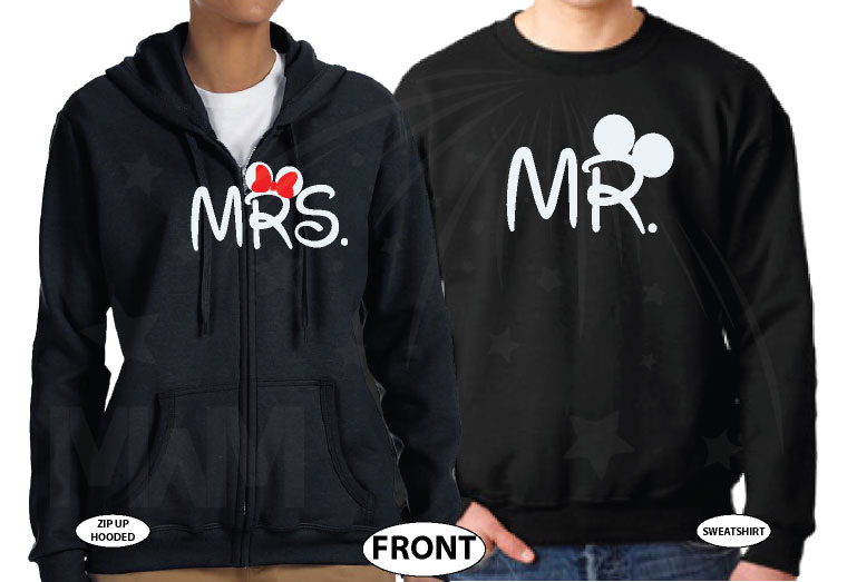 Cute Mr Mrs Mickey Minnie Couple Shirts With Big Ears and Custom Name married with mickey black sweatshirts