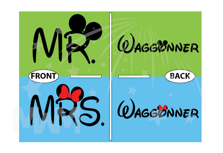 Cute Mr Mrs Mickey Minnie Couple Shirts With Big Ears and Custom Name married with mickey