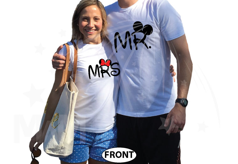 Cute Mr Mrs Mickey Minnie Couple Shirts With Big Ears and Custom Name married with mickey white tshirts
