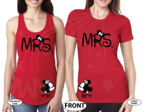 LGBT Lesbian Shirts Mrs and Mrs Shirts With Kissing Little Minnie Mouse married with mickey red tank top and tshirt