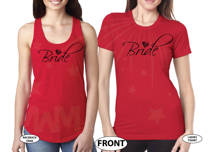 LGBT Lesbian Cute Shirts For Brides With Custom Wedding Date married with mickey red tank top and tshirt