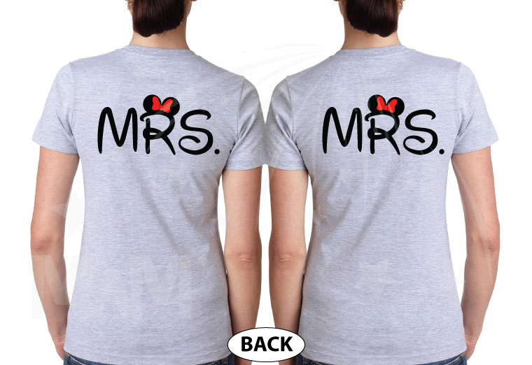LGBT Lesbian Cute Little Mickey Minnie Mouse Kiss For Mrs married with mickey grey tshirts