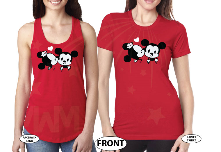 LGBT Lesbian Cute Little Mickey Minnie Mouse Kiss For Mrs married with mickey red tshirts