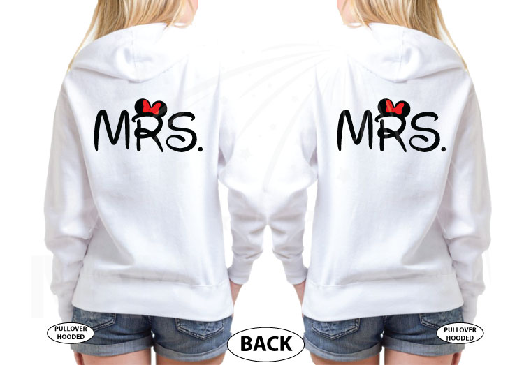 LGBT Lesbian Cute Little Mickey Minnie Mouse Kiss For Mrs married with mickey white hoodies