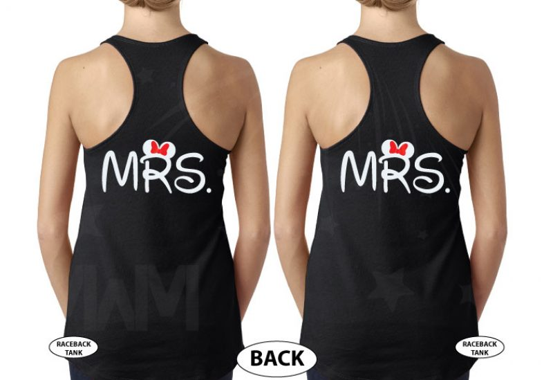 LGBT Lesbian Cute Little Mickey Minnie Mouse Kiss For Mrs married with mickey black tank tops