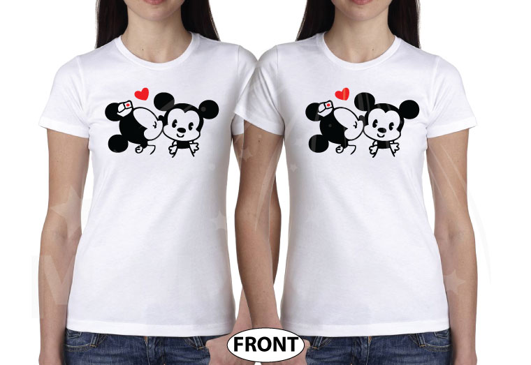 LGBT Lesbian Cute Little Mickey Minnie Mouse Kiss For Mrs married with mickey white tshirts