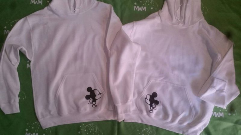 LGBT Gay His Matching Couple Shirts Mickey Mouse Cute Kissing marriedd with mickey white hoodies