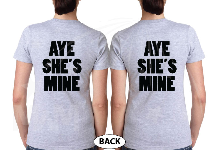 LGBT Lesbian Aye She's Mine Couple Shirts Minnie Mouse Pointing Hand married with mickey grey tshirts