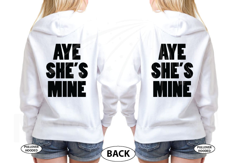 LGBT Lesbian Aye She's Mine Couple Shirts Minnie Mouse Pointing Hand married with mickey white hoodies