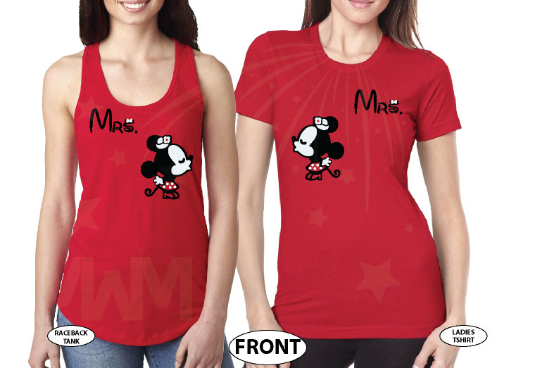 LGBT Lesbian Couple Shirts For Mrs Kissing Minnie married with mickey red tank and tshirt