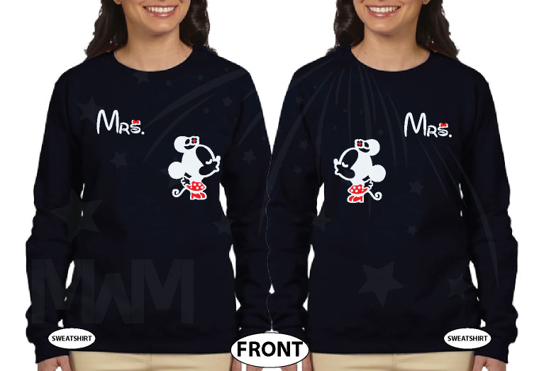LGBT Lesbian Couple Shirts For Mrs Kissing Minnie married with mickey black sweaters