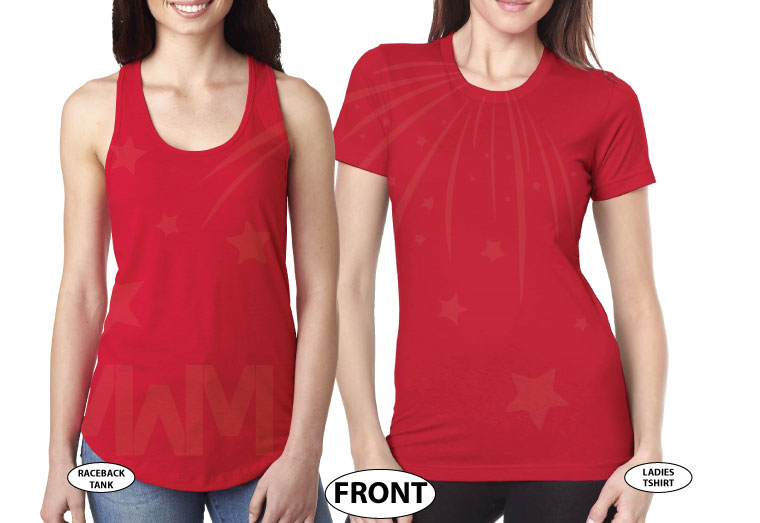 LGBT Lesbian Hers Couple Matching Shirts married with mickey red tank and tee