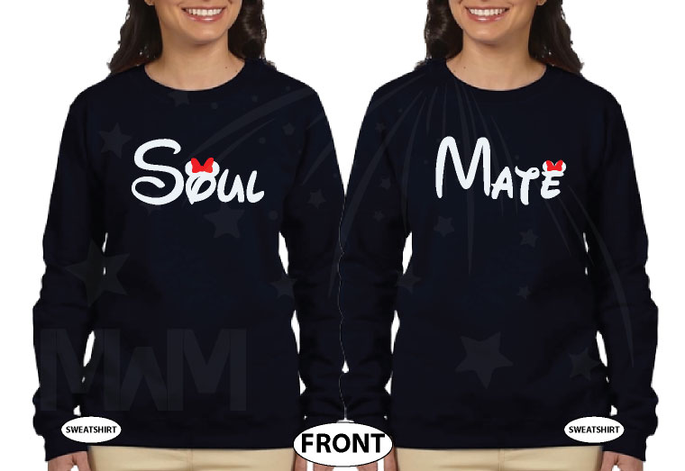 LGBT Lesbian Soul Mate Couple Shirts married with mickey black sweaters