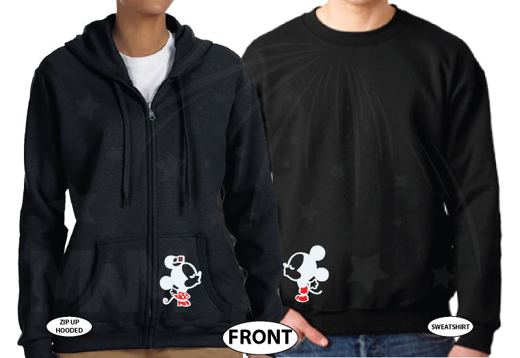 Disney Mickey Minnie Mouse Mr Mrs Cute Kiss Matching Couple Shirts married with mickey black zip up and sweater