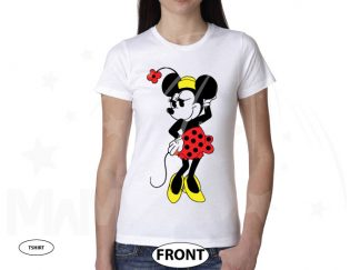 Minnie Mouse Very Cute Old Style Design T-Shirt, V Neck T-Shirt, Ladies Tank Top, Pullover Hoodie, Zip Up Hoody, Crew Neck Sweatshirt married with mickey white tshirt