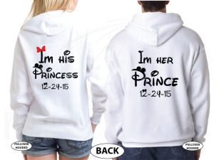 His Princess Her Prince Wedding Date With Initials married with mickey white hoodies