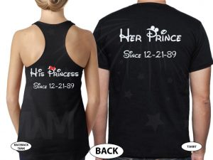 Wifey Hubby His Princess Her Prince Wedding Date Married With Mickey black tee and tank