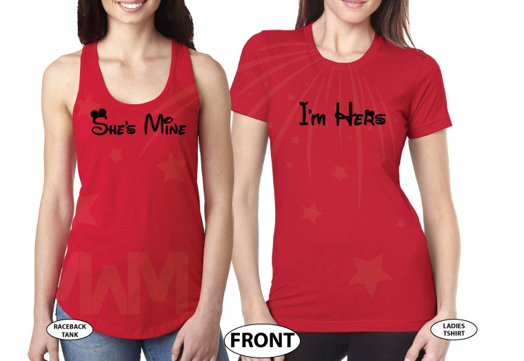 LGBT Lesbian Soul Mate She's Mine I'm Hers Minnie Mouse Kissing married with mickey red tshirts