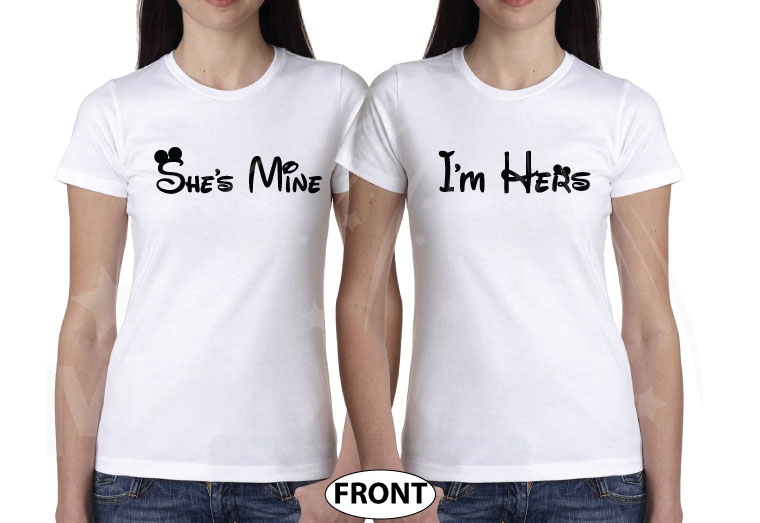 LGBT Lesbian Soul Mate She's Mine I'm Hers Minnie Mouse Kissing married with mickey white tshirts
