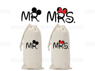 Matching Couple Wine Bag for Mr Mrs, Soul Mate, Prince Princess, Mickey Minnie Mouse Kiss, Heads, UltraClub Drawstring Wine Bag married with mickey