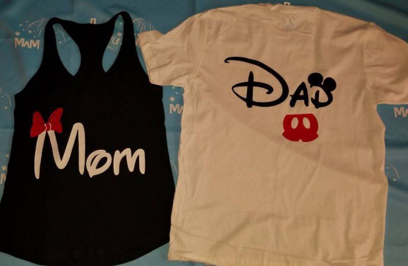 Dad and Mom Disney Family Matching Shirts black and white set of ladies tank top and mens tshirt