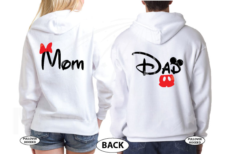 Dad and Mom Disney Family Matching Shirts married with mickey white hoodies