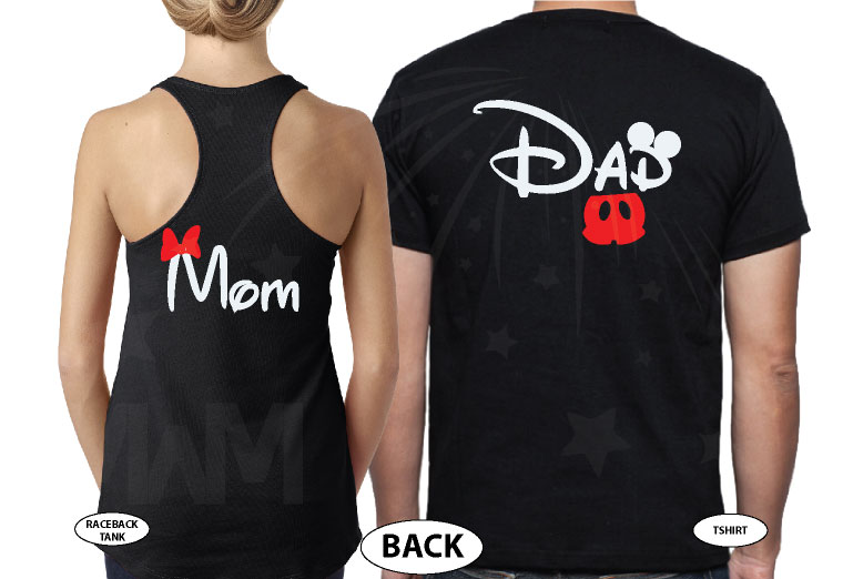 Dad and Mom Disney Family Matching Shirts married with mickey black tee and tank