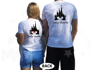 Cinderella Castle Mickey Head Family Vacation Custom Text Custom Date Minnie Mouse Head 2018 married with mickey white tshirts