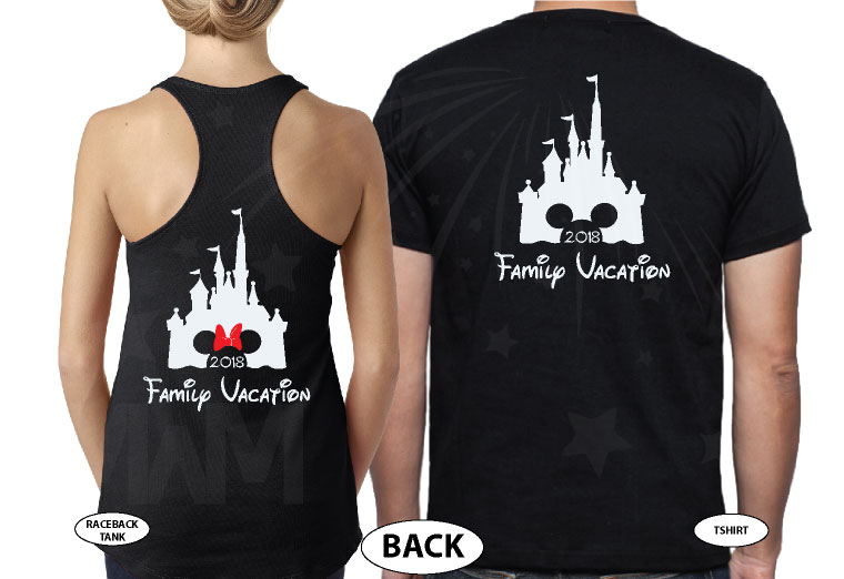 Cinderella Castle Mickey Head Family Vacation Custom Text Custom Date Minnie Mouse Head 2018 married with mickey black tee and tank