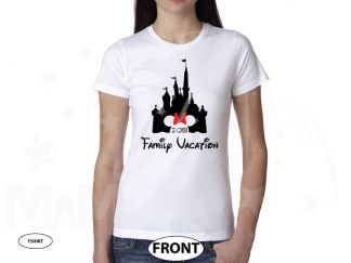 Cinderella Castle Minnie Mouse Head Cute Red Bow Family Vacation 2018 married with mickey white tshirt