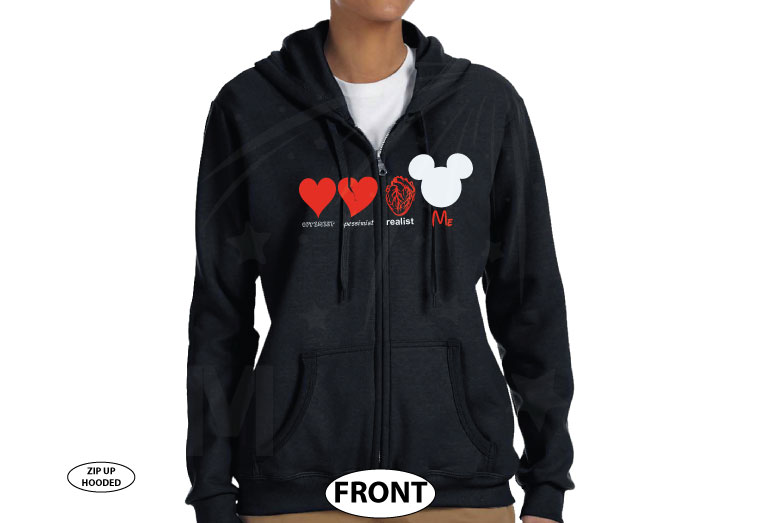 Optimist Pessimist Realist Me Love Mickey Mouse Addicted To Disney married with mickey black zip up hoodie