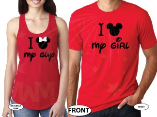 I Mickey My Girl I Minnie My Boy married with mickey red tee and tank