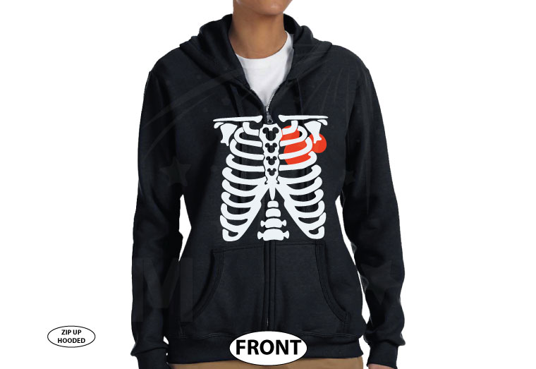 Skeleton Chest With Mickey Mouse Heart married with mickey black zip up