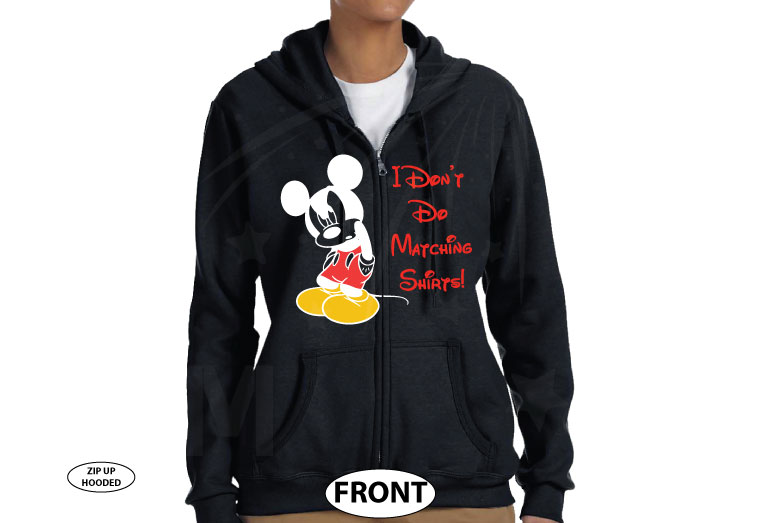 I Don't Do Matching Shirts Angry Mickey Mouse Funny Shirt married with mickey black zip up