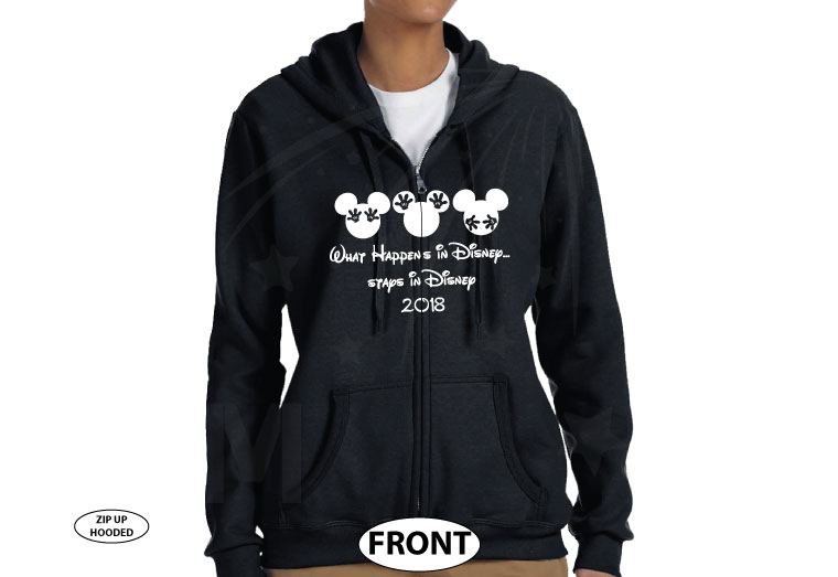 What Happens in Disney Stays in Disney See Nothing Hear Nothing Say Nothing married with mickey black zip up