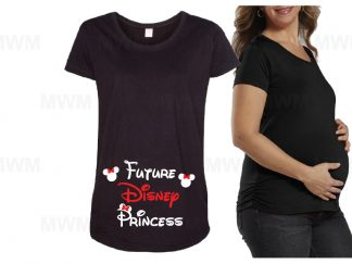 Future Disney Princess Minnie Mouse Head LAT Ladies Fine Jersey Maternity Top married with mickey black shirt