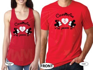 Little Mickey Minnie Mouse Kiss With Anniversary Celebrating years together married with mickey red tee and tank
