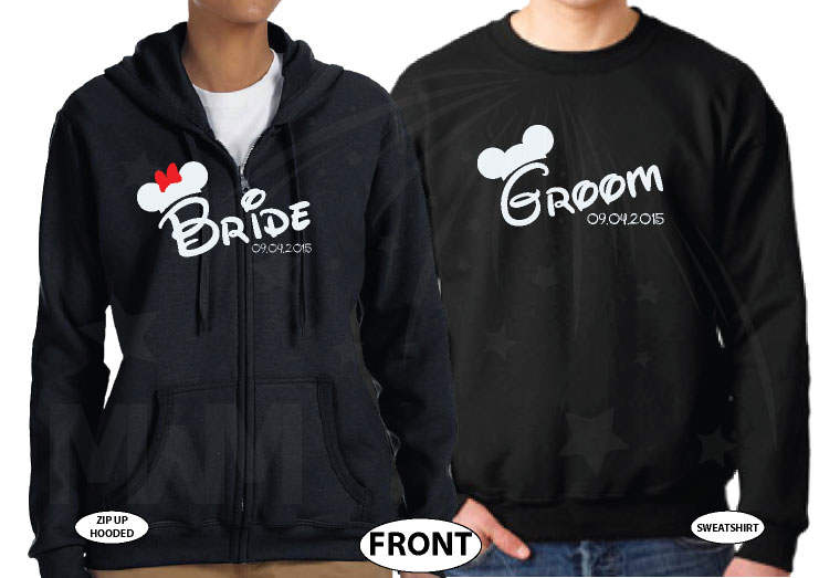 Cute Bride And Groom Couple Mix and Match Shirts married with mickey black shirts