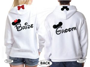 Bride Groom Cute Shirts Mickey Minie Mouse Head and Red Polka Dots Bow married with mickey white hoodies