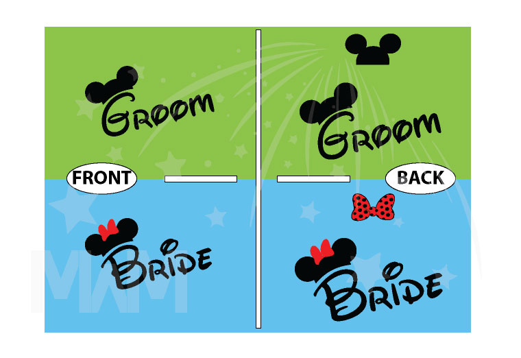 Bride Groom Cute Shirts Mickey Minie Mouse Head and Red Polka Dots Bow married with mickey
