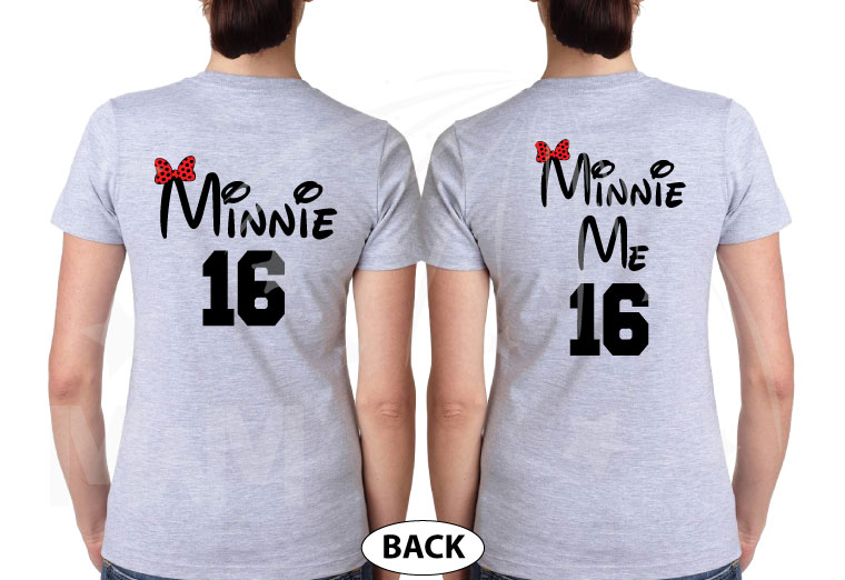 Mickey Mouse Hands In Heart Shape Minnie Minnie Me Family Matching Shirts 2016 married with mickey grey tshirts