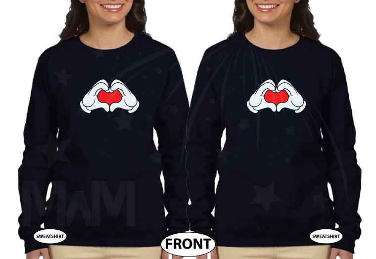 Mickey Mouse Hands In Heart Shape Minnie Minnie Me Family Matching Shirts 2016 married with mickey black sweaters