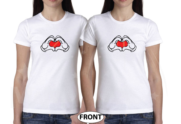 Mickey Mouse Hands In Heart Shape Minnie Minnie Me Family Matching Shirts 2016 married with mickey white tshirts