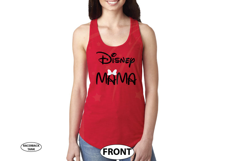 Disney Mama, ladies and mens cut shirts, pick any style and apparel color married with mickey red tank top