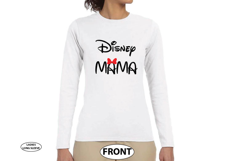 Disney Mama, ladies and mens cut shirts, pick any style and apparel color married with mickey white long sleeve