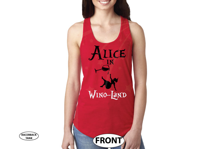 Alice In Wino-Land Ladies Cool Funny Shirt for Wine Lover married with mickey red tank top