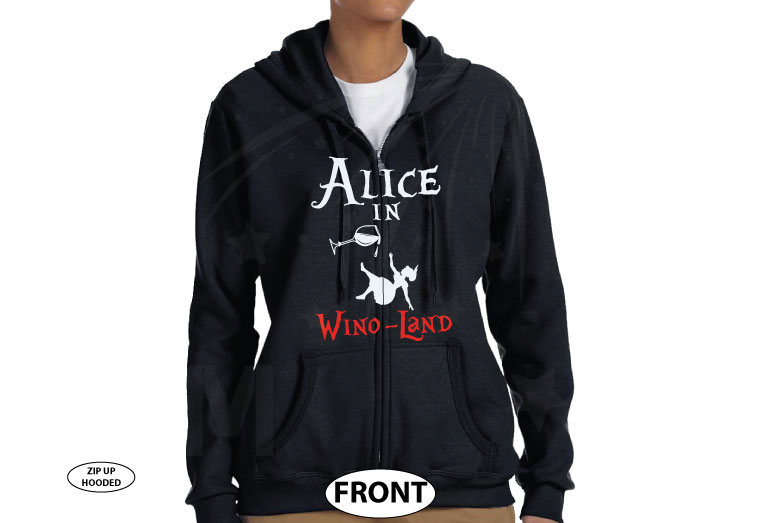 Alice In Wino-Land Ladies Cool Funny Shirt for Wine Lover married with mickey black zip up hoodie